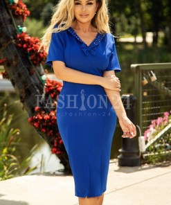 Rochie albastra cu accesoriu la baza gatului