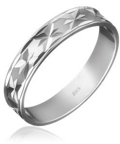 Bijuterii eshop - Verigheta din argint 925 - stelu?e gravate pe circumferin?? H11.13 - Marime inel: 49