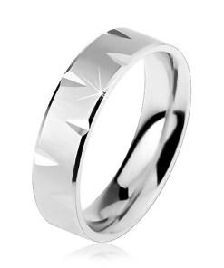 Bijuterii eshop - Verigheta mata din argint 925 ornat? cu margini lucioasa ?i crest?turi R26.27 - Marime inel: 49