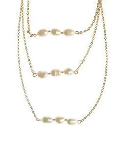 Colier triplu, cu perle acrilice