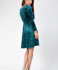 Rochie cu cret din catifea verde pin 36