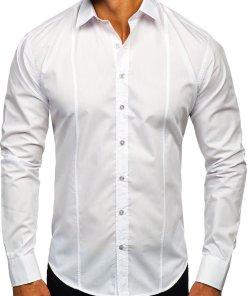 Cămașă elegantă pentru bărbat cu mâneca lungă albă Bolf 4705G
