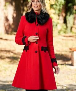 Palton StarShinerS rosu best impulse elegant din lana cu insertii de broderie captusit pe interior cu buzunare