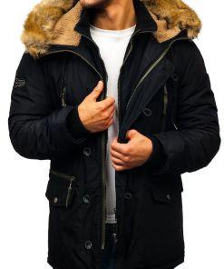 Geacă de iarnă parka pentru bărbat neagră Bolf 1045