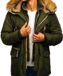 Geacă de iarnă parka pentru bărbat verde Bolf 1045