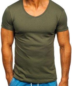 T-shirt pentru bărbat cu decolteu kaki Bolf 2309