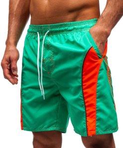 Pantaloni scurți de baie verde-deschis bărbați Bolf 336