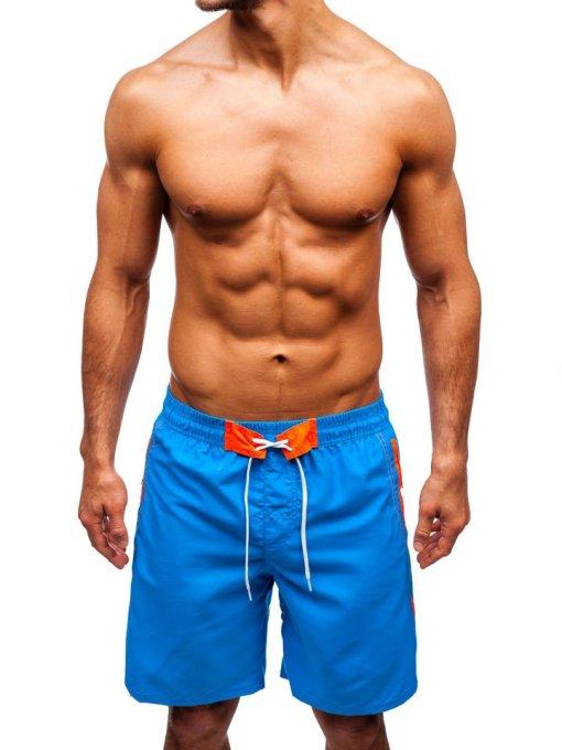 Pantaloni scurți de baie bărbați albastru-deschis Bolf 306