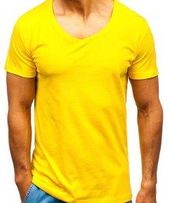 Tricou cu decolteu bărbați galben Bolf 2309
