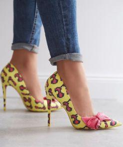 Pantofi stiletto Glittery Galbeni