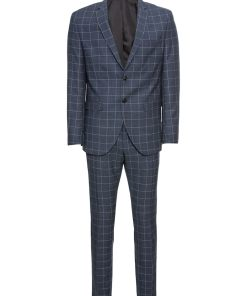 SELECTED HOMME Costum 'Myloair Check Suit B Ex'  albastru inchis