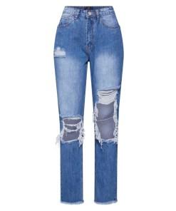 Missguided Jeans 'RIOT HIGH RISE OPEN KNEE MOM JEAN'  denim albastru