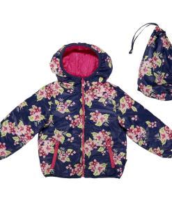 Jacheta reversibila copii Chicco, Thermore, bleumarin cu flori si ciclamen