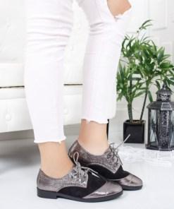 Pantofi Lavinimo argintii cu negru
