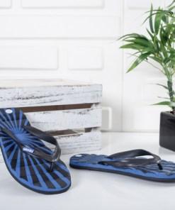 Papuci Azimi negri cu albastru