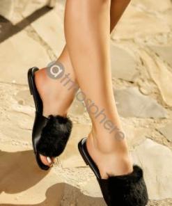 Papuci negri cu blana artificiala K-134