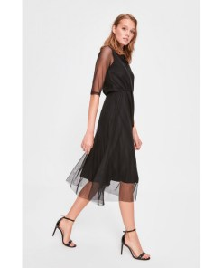 Rochie tulle Trendyol Black Binding Detailed tulle Knitted Dress 1029000