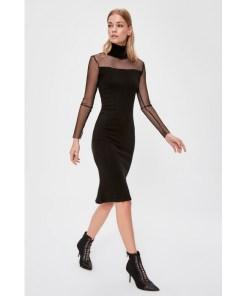 Rochie tulle Trendyol Black tulle Detailed Knitwear Dress 1050958
