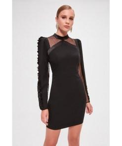 Rochie tulle Trendyol Black Pedgly tulle Detailed Dress 1038327