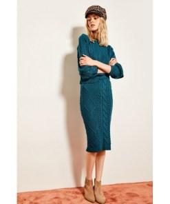 Fusta midi dama Trendyol Oil KnitTed Detailed Knitwear Skirt 1012429