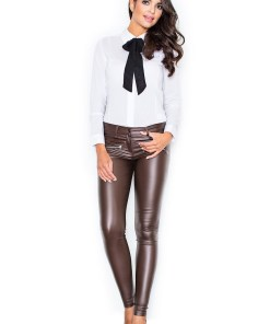Pantaloni piele dama Figl Woman's Pants M361 Brown 945573
