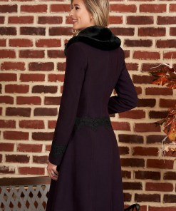 Palton StarShinerS mov best impulse elegant din lana cu insertii de broderie captusit pe interior cu buzunare