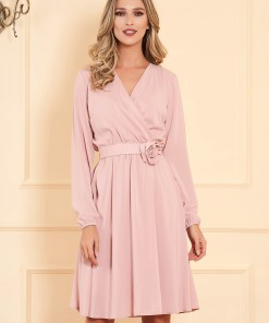 Rochie StarShinerS roz prafuit midi de ocazie in clos din material vaporos cu elastic in talie cu maneci lungi si decolteu petrecut