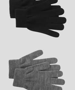 Mănuși de tricot 2-pack negru gri