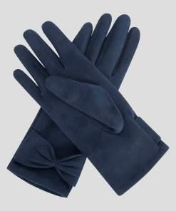Mănuși din eco-piele întoarsă bleumarin
