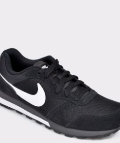 Pantofi sport NIKE, Md Runner 2 negri, din material textil si piele naturala