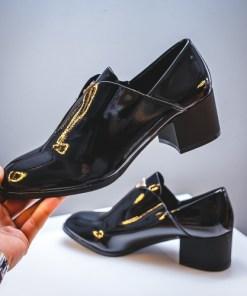 Pantofi dama cu toc negri lacuiti Starina-rl