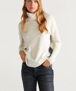 Pulover din amestec de lana - cu guler inalt Blockedc