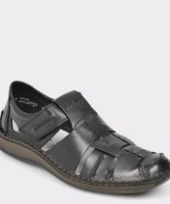 Pantofi RIEKER negri, 5275, din piele naturala