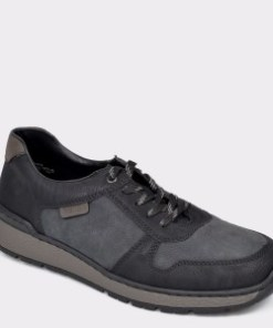 Pantofi RIEKER negri, B9014 din piele ecologica