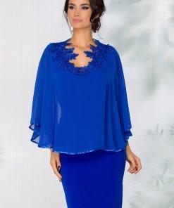 Rochie Petra albastra cu voal tip capa