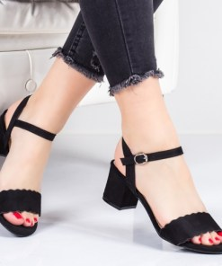 Sandale Relivis negre cu toc -rl
