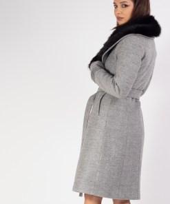 Palton cu guler din blana Gri 38