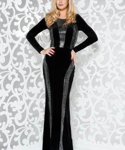 Rochie StarShinerS neagra de ocazie tip sirena din stofa usor elastica cu aplicatii cu paiete