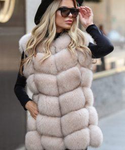 Vesta blana naturala dama vulpe polara bej cu fermoar Dior