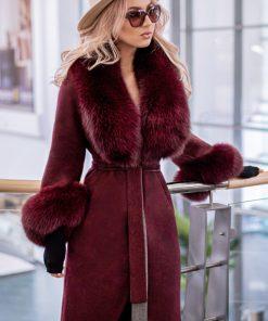 Palton dama bordo din lana de alpaca cu guler din blana naturala de vulpe cu par lung Natasha