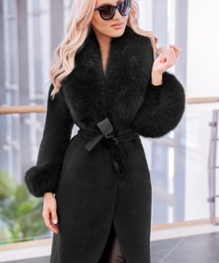 Palton dama negru din lana de alpaca cu guler din blana naturala de vulpe cu par lung Natasha