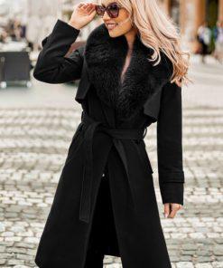 Palton dama negru lung drept cu guler din blana naturala de vulpe Zain