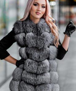 Vesta blana naturala dama vulpe argintie cu fermoar Dior