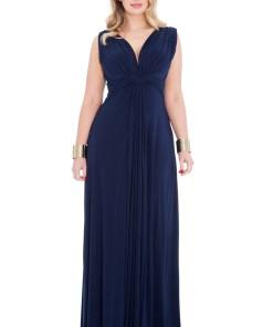 Rochie lunga moderna, de culoare bleumarin - XXL