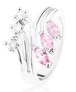 Inel argintiu cu braţe ramificate, zirconii transparente şi roz