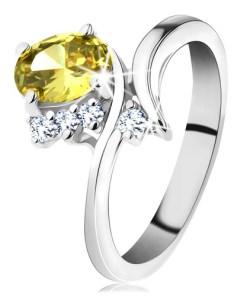 Inel argintiu strălucitor, zirconiu oval de culoare galbenă