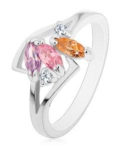 Inel argintiu, trei zirconii șlefuite colorate, brațe lucioase despicate - Marime inel: 55