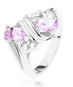 Inel argintiu, zirconii roz şi transparente, spirală dublă