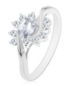 Inel argintiu, zirconiu oval, transparent și arce - Marime inel: 48