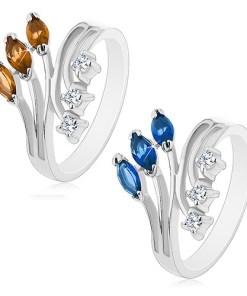 Inel de culoare argintie cu brațe depicate, zirconii transparente și colorate - Marime inel: 58, Culoare: Maro